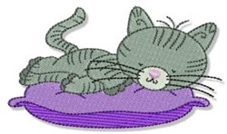 Napping Cuddly Kitten embroidery design