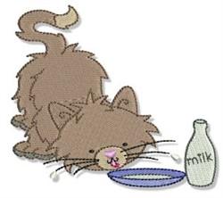 Cuddly Kitten Drinking Milk embroidery design