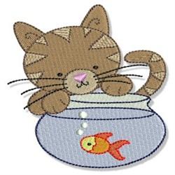 Cuddly Kitten & Goldfish embroidery design