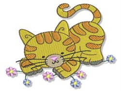 Cuddly Kitten & Flowers embroidery design
