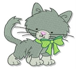Cuddly Kitten & Bow embroidery design