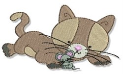 Cuddly Kitten & Mouse embroidery design