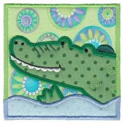 Alligator Applique Block embroidery design