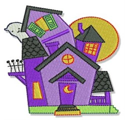 Cute Halloween House embroidery design