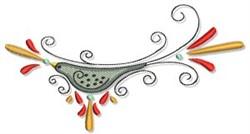 Swirling Autumn Bird embroidery design