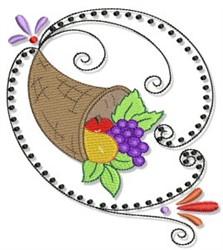 Swirly Autumn Cornucopia embroidery design