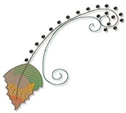 Swirly Fall Leaf embroidery design
