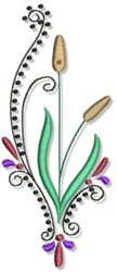 Fall Cattail Border embroidery design