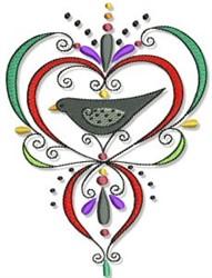Decorative Fall Crow embroidery design