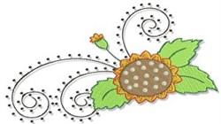 Swirly Fall Sunflower embroidery design