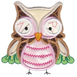 Pink Owl Applique embroidery design