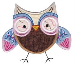 Happy Owl Applique embroidery design