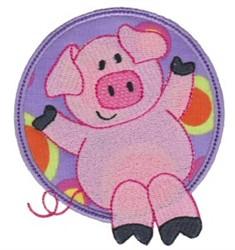 Applique Circle & Pig embroidery design