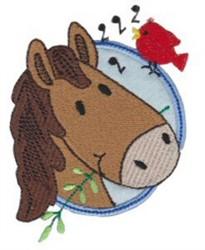 Applique Circle & Horse embroidery design