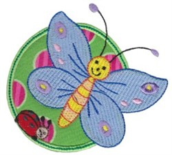 Applique Circle & Butterfly embroidery design