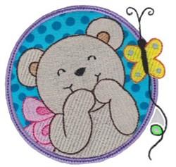 Applique Circle & Bear embroidery design