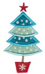 Retro Christmas Tree Applique embroidery design