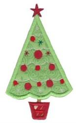 Retro Applique Christmas Tree embroidery design