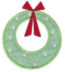 Retro Applique Christmas Wreath embroidery design