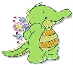 Cute Crocodile & Flowers embroidery design