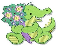 Crocodile & Flower Bouquet embroidery design