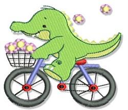 Cute Bicycling Crocodile embroidery design