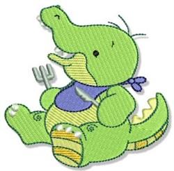 Cute Dinnertime Crocodile embroidery design