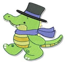 Cute Dressed Up Crocodile embroidery design