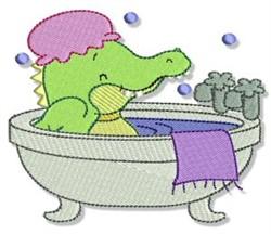 Cute Bath Time Crocodile embroidery design