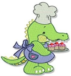 Cute Baking Crocodile embroidery design