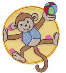 Applique Circle & Monkey embroidery design