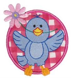 Applique Circle & Bluebird embroidery design