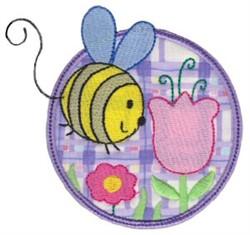 Applique Circle & Bumblebee embroidery design