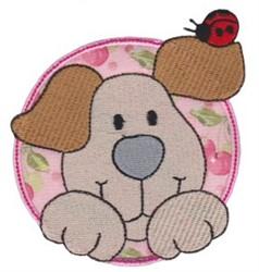 Applique Circle & Puppy embroidery design