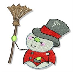 Snowman With Broom embroidery design