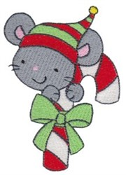 Candy Cane Mouse embroidery design