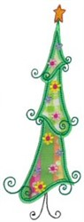 Applique Holiday Tree embroidery design