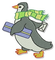 Penguin & Gift embroidery design