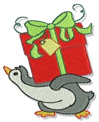 Gift & Penguin embroidery design