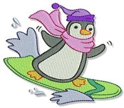 Surf Penguin embroidery design