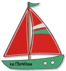 Christmas Sailboat embroidery design