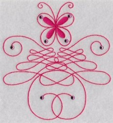 Swirled Butterfly embroidery design
