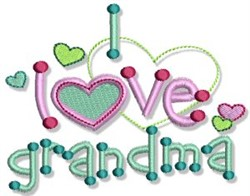 I Love Grandma embroidery design