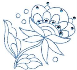 Jacobean Redwork Flower embroidery design