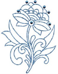 Floral Redwork embroidery design
