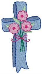 Cross & Flowers embroidery design