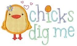Chicks Dig Me Applique embroidery design