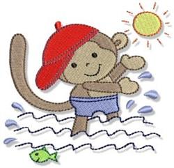 Splashing Beach Monkey embroidery design