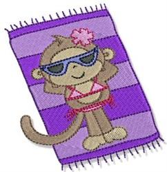 Sunbathing Girl Beach Monkey embroidery design