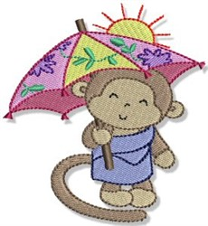 Beach Monkey & Umbrella embroidery design